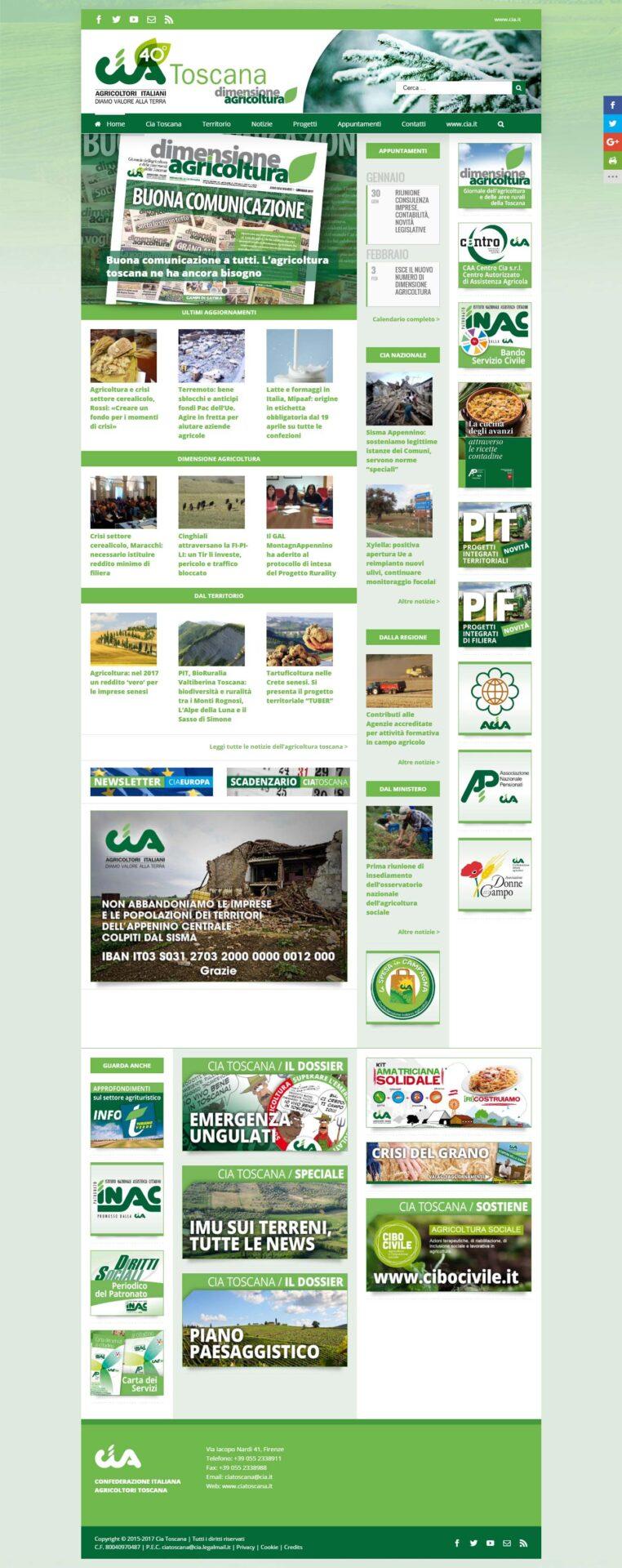 Prima pagina del sito internet www.ciatoscana.eu