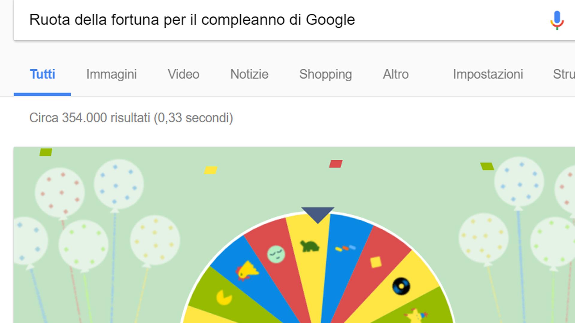 Google compie 19 anni e gira sulla ruota della fortuna