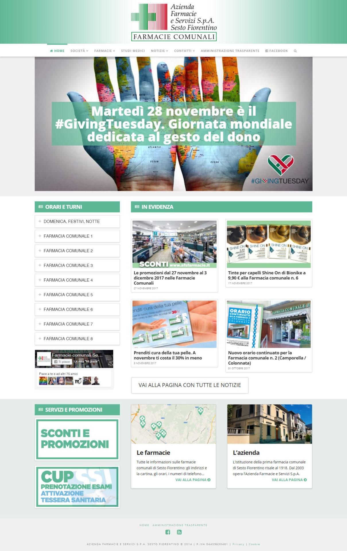Prima pagina del sito internet www.afsfarmacie.it