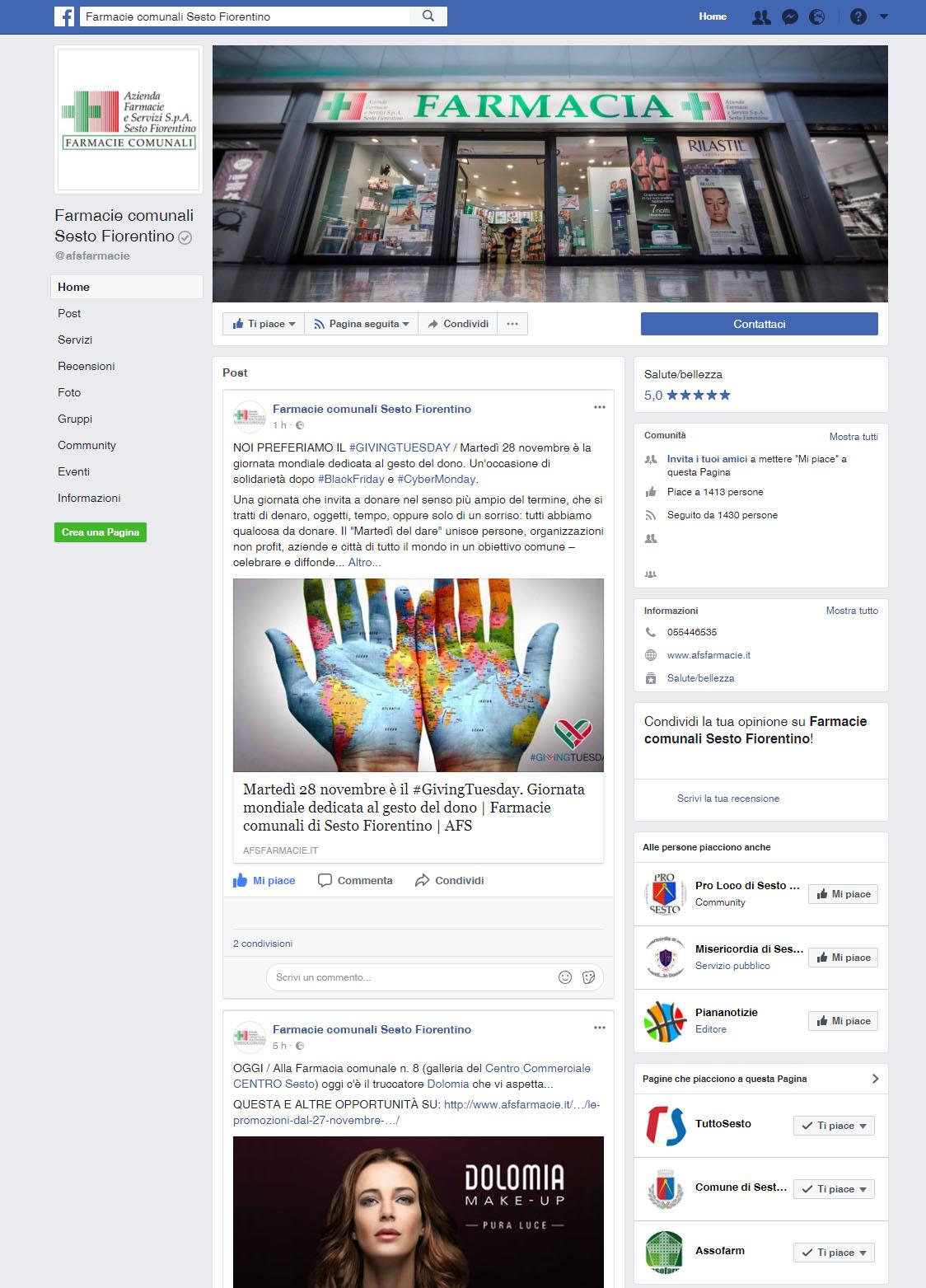 """La pagina Facebook """"Farmacie comunali Sesto Fiorentino"""""""