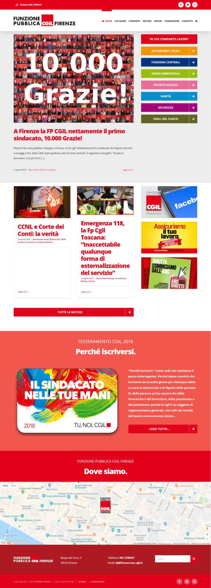 Prima pagina del sito internet www.fpcgilfirenze.it