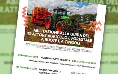 Agricoltura è Vita Etruria. Corso a Siena per l'abilitazione alla guida del trattore