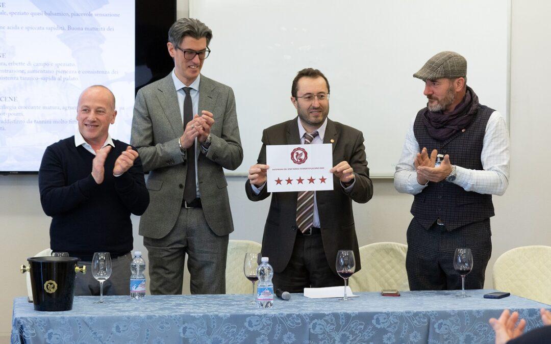 Vino Nobile di Montepulciano. Cinque stelle alla vendemmia 2019
