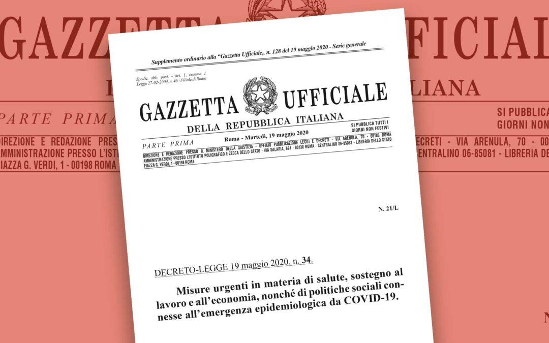 """Decreto Rilancio in Gazzetta Ufficiale. Il testo del DL 34/2020 """"ricercabile"""""""