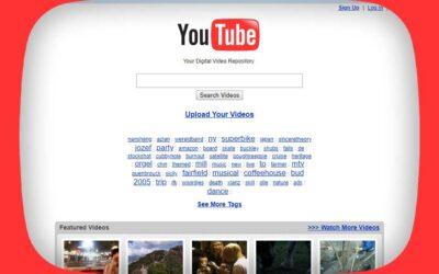 YouTube. L'evoluzione del logo e del sito dal 2005 a oggi