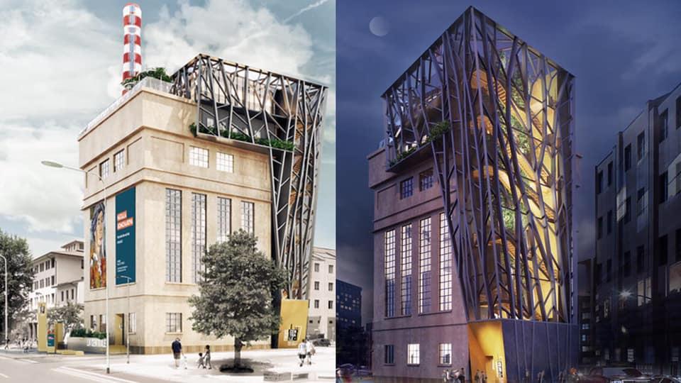 """Ex stabilimento Fiat di Novoli. Vista della Commissione urbanistica alla """"centrale termica"""""""